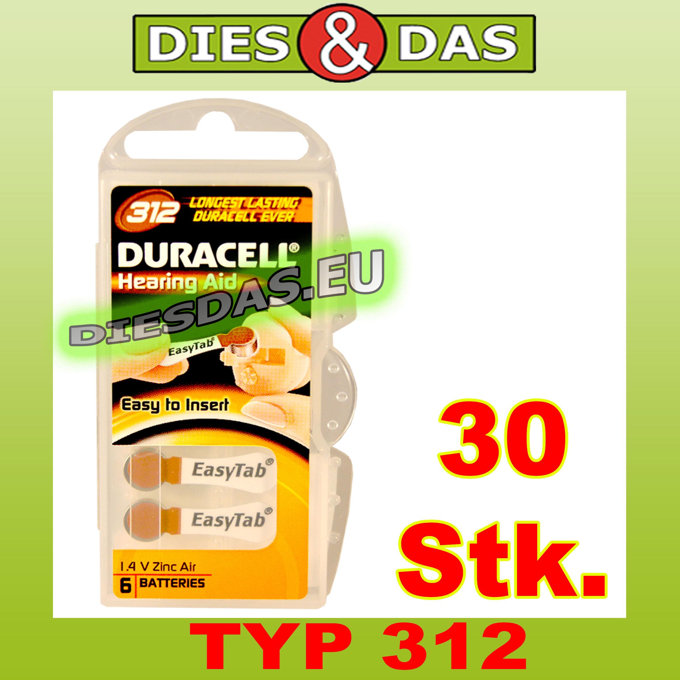 30 stk duracell typ 312 easy tab h rger te batterien hier kaufen sie g nstig batterien und. Black Bedroom Furniture Sets. Home Design Ideas