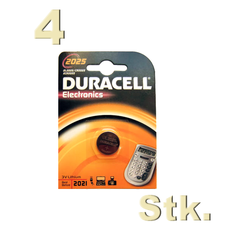 4 stk duracell cr 2025 knopfzelle 3 volt lithium im 1er blister 4x ebay. Black Bedroom Furniture Sets. Home Design Ideas